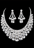In Stock Brilliant First Class Rhinestones & Alloy & Crystal zircon Necklace & Earrings For Your Wedding Dress