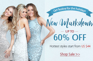 New markdown for holiday party dresses up to 60% off